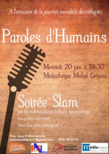 Soirée Slam issue des ateliers d'écritures Paroles d'humains @ Médiathèque Michel Crépeau | La Rochelle | Nouvelle-Aquitaine | France