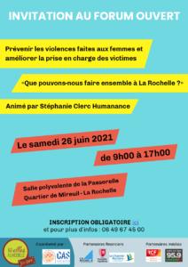 """Forum Ouvert """"Prévenir les violences faites aux femmes et améliorer la prise en charge des victimes, que pouvons-nous faire collectivement sur la Rochelle ?"""" @ Salle Polyvalente de la Passerelle   La Rochelle   Nouvelle-Aquitaine   France"""