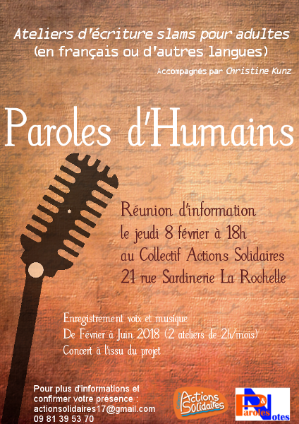 Paroles d'humains, ateliers slams